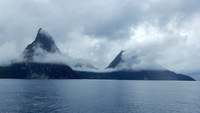 Les Pitons -- in the early morning clouds